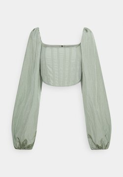 Missguided Tall - BALLOON SLEEVE CORSET - Long sleeved top - sage