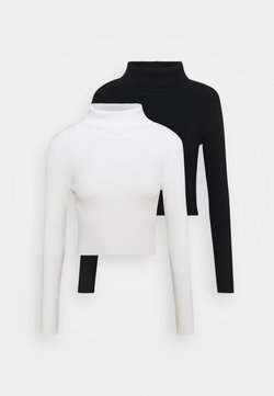 Even&Odd - 2-PACK-CROPPED TURTLE NECK - Neule - black/ white