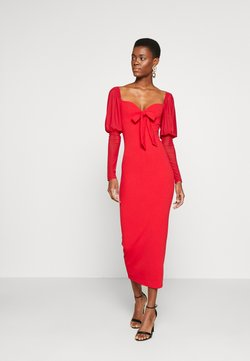Missguided Tall - MESH PUFF SLEEVE BOW MIDI DRESS - Vestido de cóctel - red