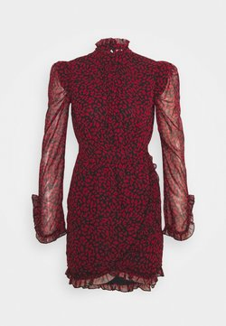 Topshop - ANIMAL WRAP MINI - Freizeitkleid - red