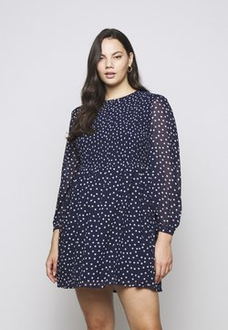 Simply Be - SHIRRED SPOT SKATER DRESS - Freizeitkleid - navy