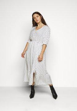 City Chic - DRESS SPOTTY TIER - Vestido camisero - white
