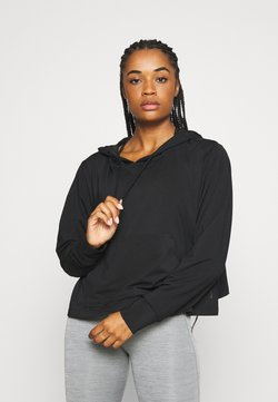 Nike Performance - YOGA CROP PLUS - Tekninen urheilupaita - black/dark smoke grey