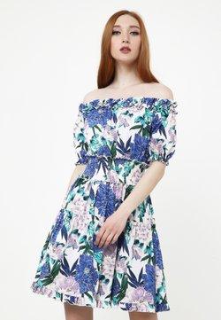 Madam-T - Freizeitkleid - weiß, kornblumenblau