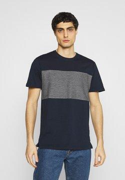 TOM TAILOR - WITH STRIPED INSERT - T-Shirt print - dark blue