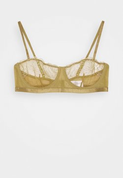 NA-KD - EMBROIDED SIDE STRAP BRA - Balconette BH - olive green