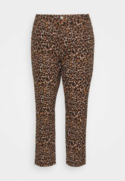 Noisy May Curve - NMISABEL MOM BUTTON  - Pantalon classique - toasted coconut/leo print