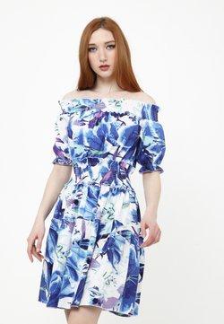 Madam-T - NAPOLI - Freizeitkleid - weiß / kornblumenblau