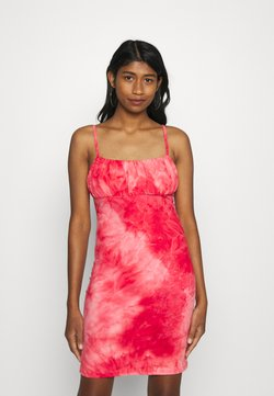 Glamorous - MINI DRESS WITH GATHERED BUST PANEL LOW BACK AND ROULEA - Vestito di maglina - coral pink
