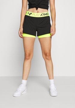 ONLY PLAY Petite - ONPJACEI LOOSE TRAINING SHORTS - Short - black/saftey yellow