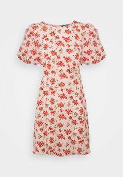 Missguided - FLORAL PUFF SLEEVE SKATER DRESS - Freizeitkleid - pink