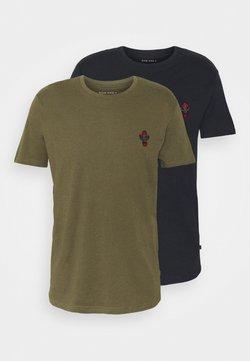 Pier One - 2Pack - Camiseta básica - olive/dark blue