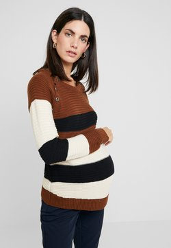 ohma! - NURSING STRIPPED WITH BUTTONS - Trui - brown