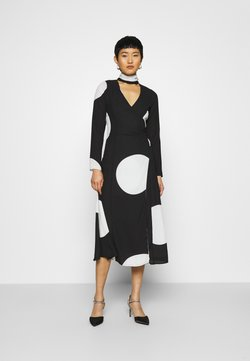 Who What Wear - MOCK NECK WRAP DRESS - Maxiklänning - black and white