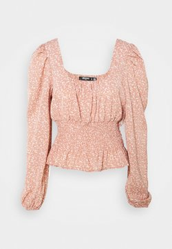 Missguided Tall - GATHERED WAIST PUFF BLOUSE - Bluse - pink
