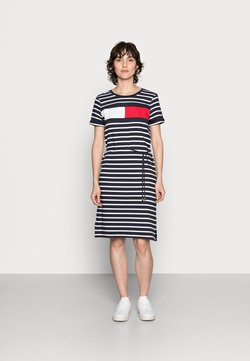 Tommy Hilfiger - ABO REGULAR T-SHIRT DRESS - Jersey dress - desert sky/white