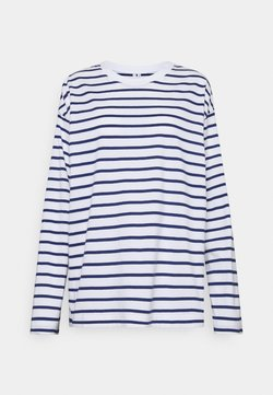 ARKET - JERSEY LONG SLEEVE - Langarmshirt - white/blue