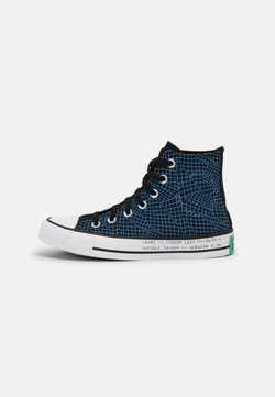 Converse - CHUCK TAYLOR ALL STAR TOPOGRAPHIC UNISEX - Korkeavartiset tennarit - black/court green/digital blue
