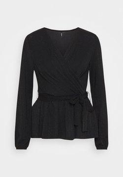 ONLY - ONLFURIOUS GLITTER WRAP - Blusa - black/black