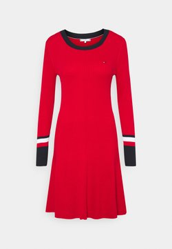 Tommy Hilfiger - WARM FIT & FLARE DRESS - Vestido de punto - primary red
