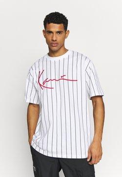 Karl Kani - SIGNATURE PINSTRIPE TEE - T-Shirt print - white/black/red