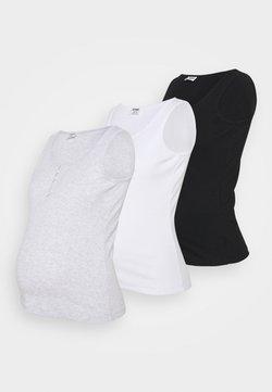 Cotton On - MATERNITY HENLEY SLEEVELESS TANK 3 PACK - Topper - black/white/silver marle
