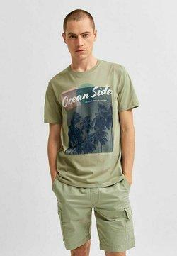 Selected Homme - STATEMENT - T-shirt z nadrukiem - tea