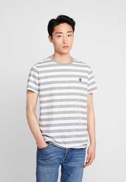 Timberland - STRIPED TEE - T-Shirt print - medium grey heather