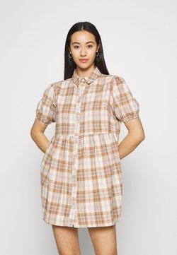 Missguided - CHECK SHORT SLEEVE SHIRT DRESS - Blusenkleid - brown
