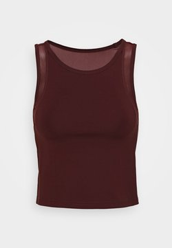 Even&Odd active - CROP TOP WITH INSERT - Top - dark brown