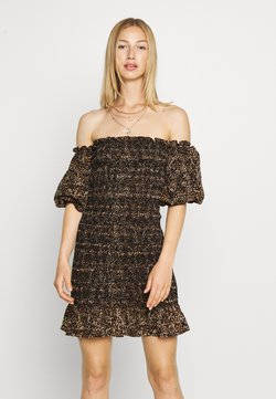 Topshop - SHIRRED BARDOT MINI DRESS - Etuikleid - brown