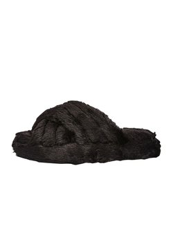 Next - CROSS STRAP WITH RECYCLED FAUX FUR - Chaussons - black