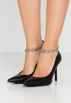 KARL LAGERFELD - MANOIR ANKLE CHAIN COURT SHOE - High Heel Pumps - black/silver