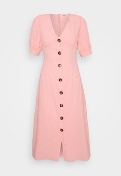 Glamorous - PUFF SLEEVE MIDI DRESS WITH FRONT BUTTON DETAIL - Kjole - light coral