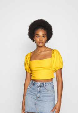 Missguided - MILKMAID ZIP UP - Blouse - yellow