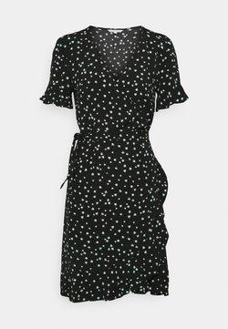 TOM TAILOR DENIM - MINI  WRAP DRESS - Vapaa-ajan mekko - black