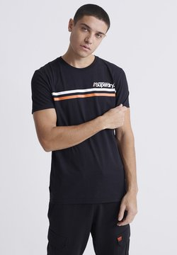 Superdry - CORE LOGO SPORT STRIPE TEE - T-Shirt print - black