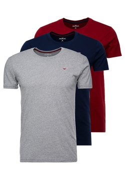 Hollister Co. - CREW 3 PACK - Basic T-shirt - navy/burgundy/grey