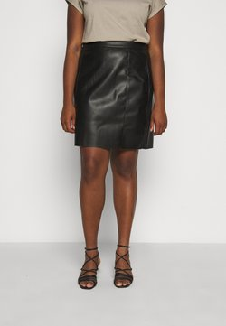 Vero Moda Curve - VMNORARIO SHORT COATED SKIRT - Bleistiftrock - black