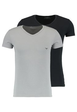 Emporio Armani - V NECK 2 PACK - Basic T-shirt - black/gray