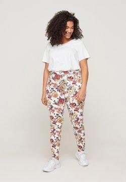 Zizzi - Jeans Slim Fit - white flower aop