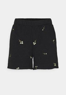 Vero Moda - VMNATALIE EMBROIDERY  - Shorts - black/french vanilla/khaki flower