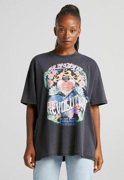 Bershka - MIT HERZPRINT - T-shirt z nadrukiem - dark grey