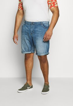 TOM TAILOR MEN PLUS - JEANSHOSEN JOSH REGULAR SLIM DENIM SHORTS - Jeansshort - light stone wash denim