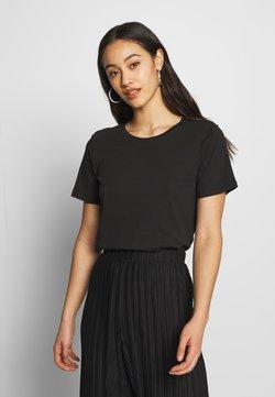 Even&Odd - BASIC ROUND NECK SHORT SLEEVES - Basic T-shirt - black