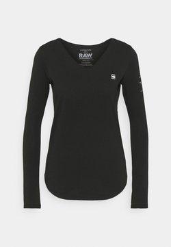 G-Star - ROLLED EDGE V NECK LONGSLEEVE - Langarmshirt - black