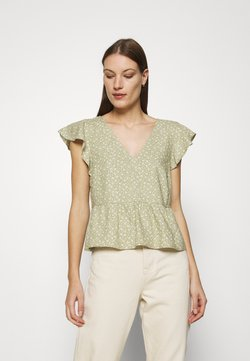 Abercrombie & Fitch - VOLUME SMOCKED BABYDOLL - T-Shirt print - green