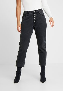 Missguided Petite - WRATH BUTTON FLY - Straight leg jeans - black
