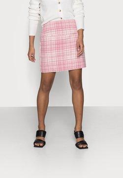 Missguided Petite - BRUSHED CHECK MINI SKIRT - Minihame - pink