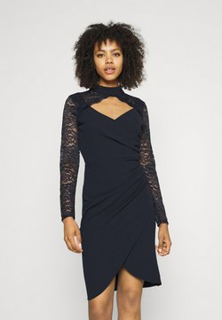 WAL G. - SONIA LACE DETAIL MIDI DRESS - Juhlamekko - navy blue